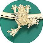 14k Yellow Gold Frog Omega Pendant Slide