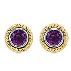 14k Two Tone Gold Rope Bezel Stud Amethyst Earrings