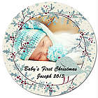 Personalized Photo Holly and Dove Christmas Ornament