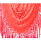 Hand Embroidered Intense Coral Spanish Flamenco Manton Shawl