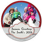 Personalized Photo Red Stitch Christmas Ornament