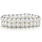 Two Line Button Freshwater Cultured Pearl Bracelet