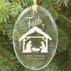 Engraved Nativity Oval Glass Ornament