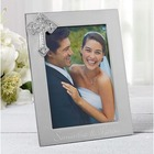 Engraved Silver Wedding Picture Frame with Cross