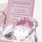 Gift Boxed Pink Ribbon Charm Bracelet