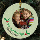 Custom Photo Ceramic Holly Ornament