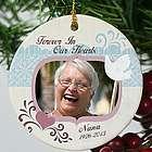 Custom Photo Ceramic Forever In Our Hearts Memorial Ornament