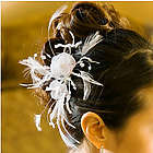 Feather & Flower Bridal Hair Comb
