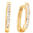 .20 Ct Diamond Channel 14K Yellow Gold Huggie Earrings