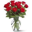One Dozen Roses Bouquet with Vase
