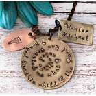 New Mom's Adoption Hand Stamped Brass Pendant