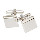 Rhodium Square Beveled Cufflinks