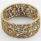Antique Style Goldtone Marcasite Metal Stretch Bracelet