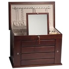 Large Solid Wood Mahogany Jewelry Box Armoire