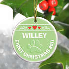 Personalized Green Puppy's First Christmas Ornament