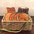 Wood Candles and Coasters in Wicker Basket