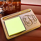 Personalized Monogram Wooden Notepad and Pen Holder