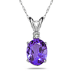 Oval Tanzanite and Diamond Stud Pendant in 14K White Gold