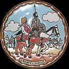 Spanish Novel Don Quijote & Sancho Decor Plate with 24Kt Gold