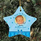 Personalized Ceramic Star New Baby Boy Photo Ornament