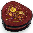 Red Wine Heart Shaped Floral Music Jewelry Box