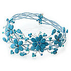 Three Blue Blossoms Beaded Choker