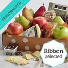 Fresh Fruit, Cheese & Snacks with Personalized Ribbon Gift Box