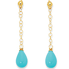 14k Yellow Gold Prong Pear Turquoise Drop Earrings