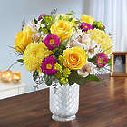 Large Sunshine Harmony Bouquet in White Mosaic Vase