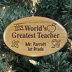 Engraved Teacher Wooden Oval Christmas Ornament