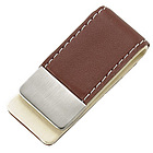Personalized Brown Leatherette Money Clip