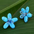 'Cool Blue Flower' Earrings