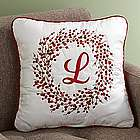 Personalized Holiday Berry Wreath Pillow