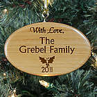 Personalized Family Christmas Wooden Oval Ornament