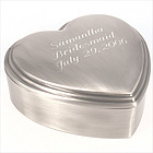 Personalized Antique Pewter Brushed 3D Classic Heart Jewelry Box