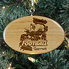 Personalized Football Player Wooden Oval Ornament