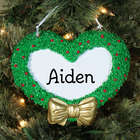 Engraved Name Heart Wreath Ornament
