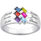 Sterling Silver Baguette Birthstone & Name Family Ring