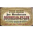 Personalized Lawyer Wall Sign