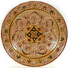 "Moroccan Amber 16"" Carved Decorative Plate"