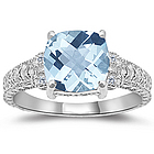 Aquamarine & Diamond Antique Filigree White Gold Ring