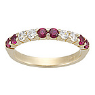 Diamond & Ruby Wedding Band in White Gold