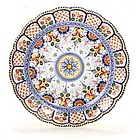 Scalloped Spanish Flowers Majolica Decorative Platter