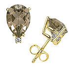 Pear Shaped Smokey Quartz and Diamond Stud Earrings