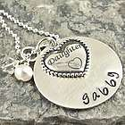 Daughter's Heart Personalized Hand Stamped Necklace