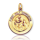 14k Y Gold Carved Medium First Holy Communion Medal