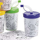 Color Your Own Cups with Lids and Straws Set