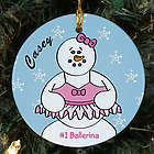 Personalized Ceramic Ballerina Snowman Ornament