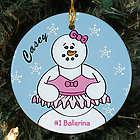 Personalized Ceramic Ballerina Snowman Ornament