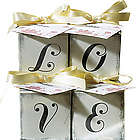 Aged Printed Wedding Cube Love Candy Box
